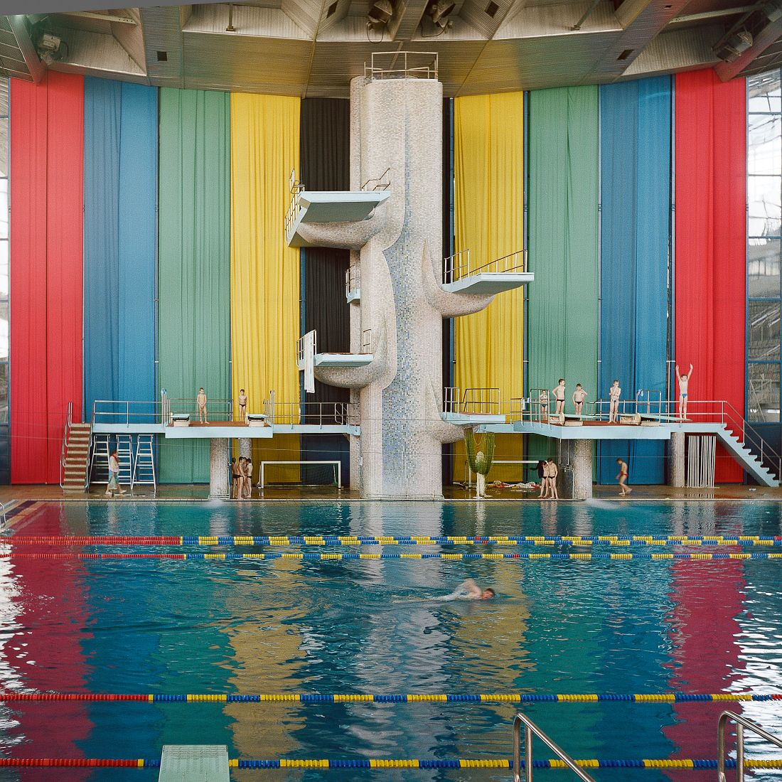 Interior of a swimming pool at Moscow Olympiysky Sports Complex. The sports complex completed in 1980 remains the largest stadium in Europe. During Moscow Olympics it hosted tournaments in 22 different disciplines. Currently, apart from being used for sports and musical venues, it hosts offices, bars, clothes market.