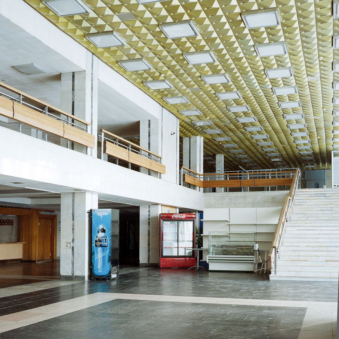 Interior of Dynamo Stadium. Dynamo Sports Palace was completed in 1980 and hosted basketball tournaments during Moscow Olympics. Currently it hosts amateur sports clubs and offices.