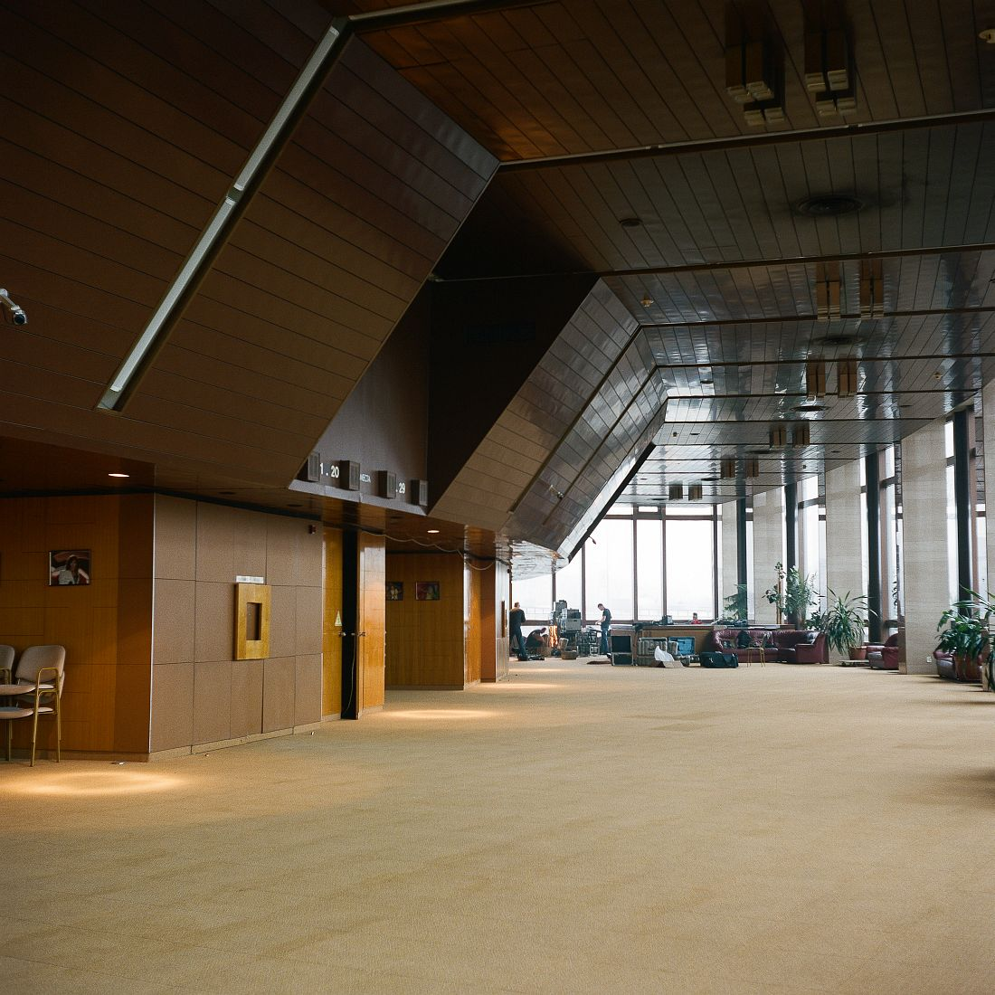 Interior of main hall at Cosmos Hotel. The hotel was completed in 1979 as the main facility for tourists and also hosted one of the Olympic press-centres.