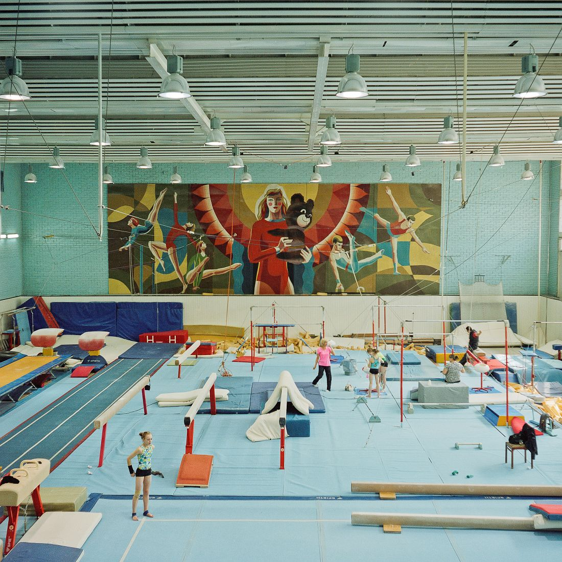 Interior of a Gymnastics hall at Moscow Olympiysky Sports Complex. The sports complex completed in 1980 remains the largest stadium in Europe. During Moscow Olympics it hosted competitions in 22 different disciplines. Currently apart from being used for sports and musical venues, it hosts offices, bars, clothes market.