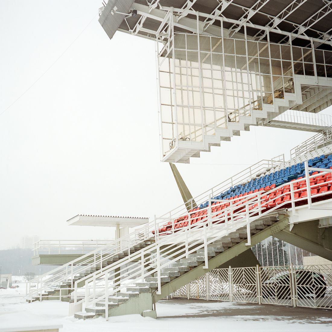 The arena and judges' box at Krylatskoye artificial canoeing and rowing basin. The 2300 metre rowing and canoeing basin was specifically built for Moscow Summer Olympics however has fallen out of regular use since.