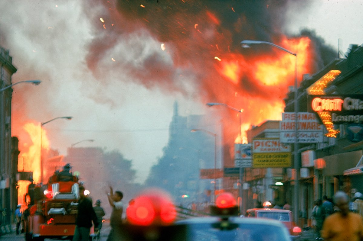 DETROIT, UNITED STATES - JULY 01:  Building burning during race riots in the city.  (Photo by Declan Haun/The LIFE Picture Collection/Getty Images)