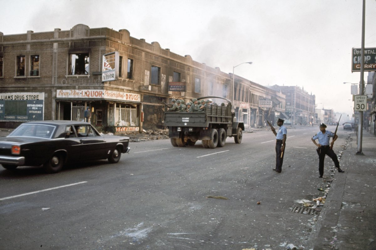 Subject: Detroit street with National Guards and police during the race riots.  Detroit, Michigan 1967 Photographer- Howard Bingham Time Inc NOT Owned Merlin-1153209
