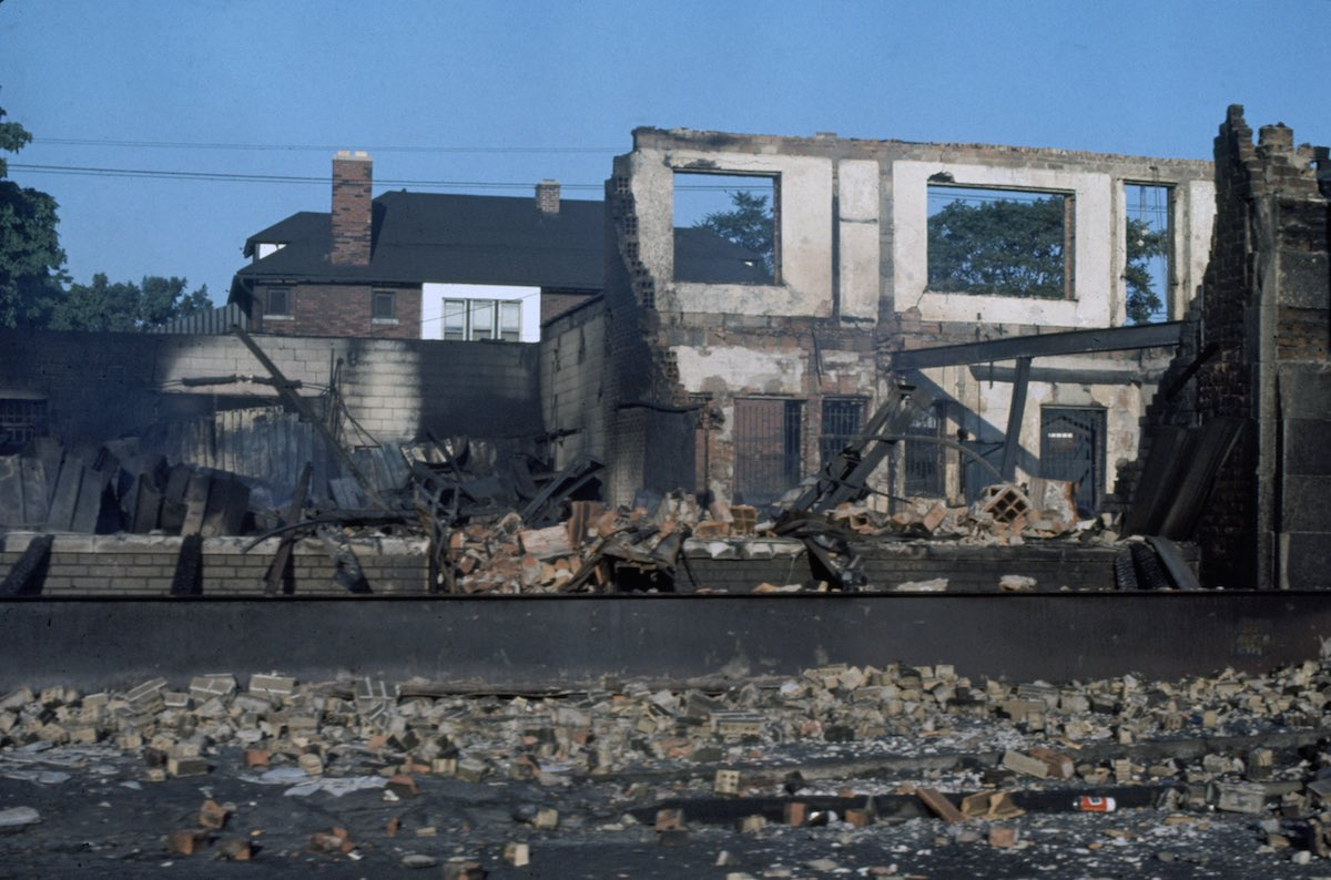 Subject: Abandoned and Burned out buildings from the Race Riots in Detroit, Michigan July 1967 Photographer- Lee Balterman Time Inc Owned Merlin-1153580