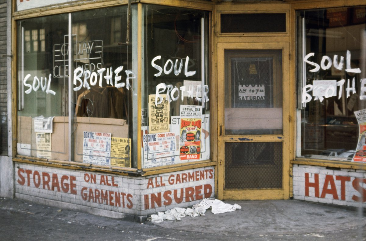 "Subject: ""Soul Brother"" written on the windows of an African American owned business so that rioters won't vandalize or destroy during race riots.  Detroit, Michigan 1967 Photographer- Howard Bingham Time Inc NOT OWNED merlin-1153193"