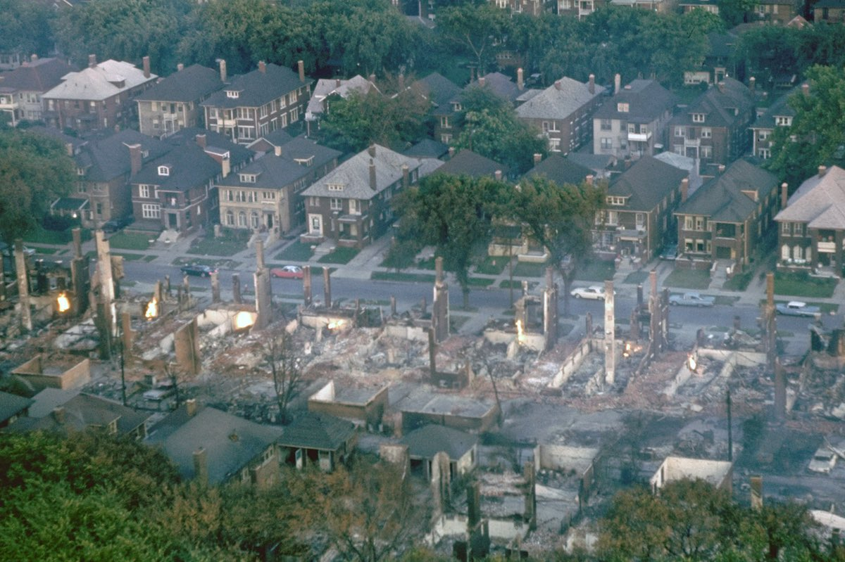 MICHIGAN, UNITED STATES - 1967:  Smoldering ruins of middle class black neighborhood, the aftermath of race riots which ravaged city after confrontation between police and African Americans following bust of illegal after hours club.  (Photo by Declan Haun/The LIFE Picture Collection/Getty Images)