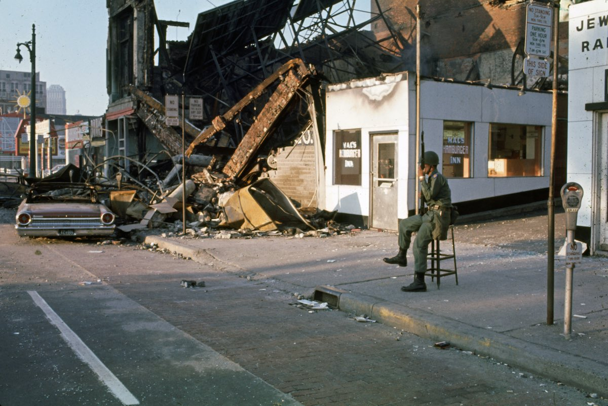 Subject: National guardsman on Detroit street during race riots. Detroit, Michigan 1967 Photographer- Howard Bingham Time Inc Not Owned Merlin-1153189