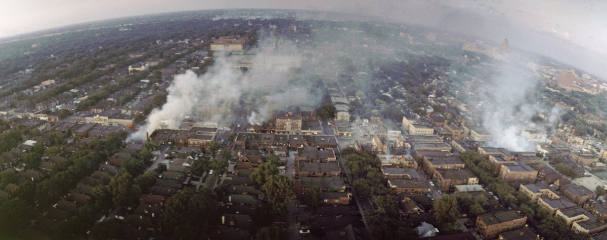 Subject: Aerial view of Detroit on fire during race riots. Detroit, Michigan 1967 Photographer- Howard Bingham Time Inc NOT OWNED merlin- 1201882