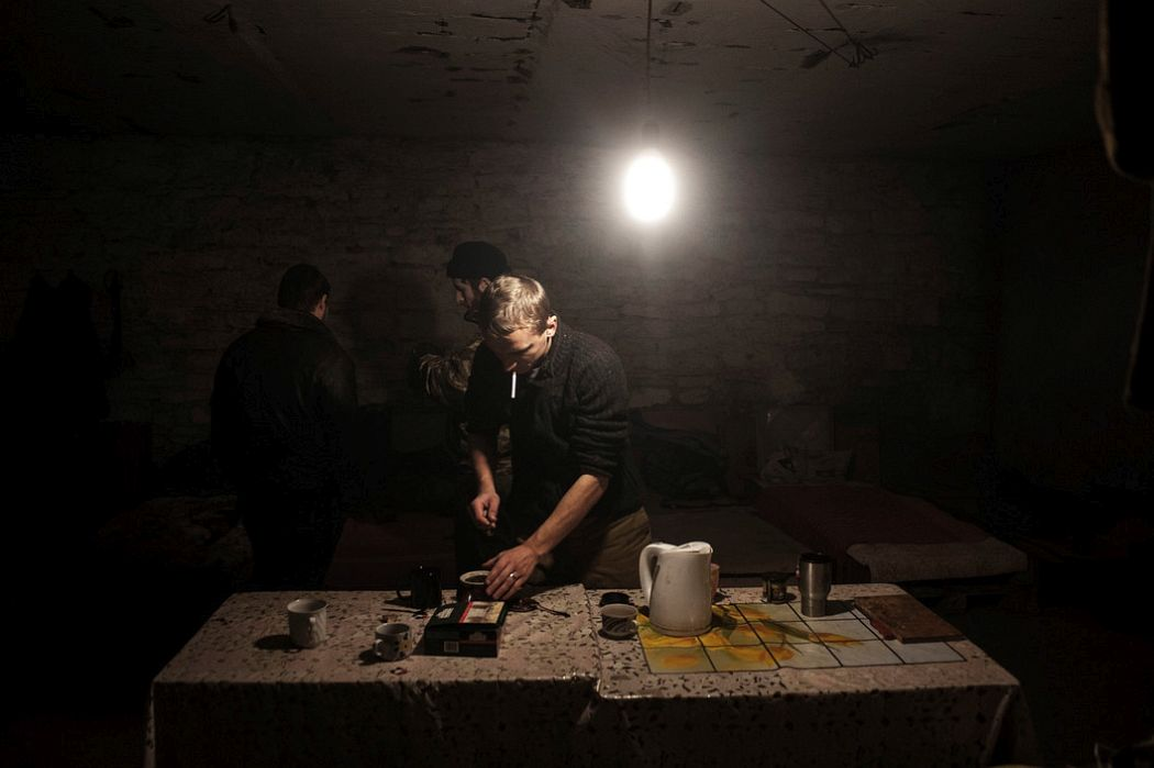 UKRAINE. Donetsk, East Ukraine. November 23, 2014. Pro-Russian separatists using bomb shelter as living quarters in Petrovskyi neighbourhood.