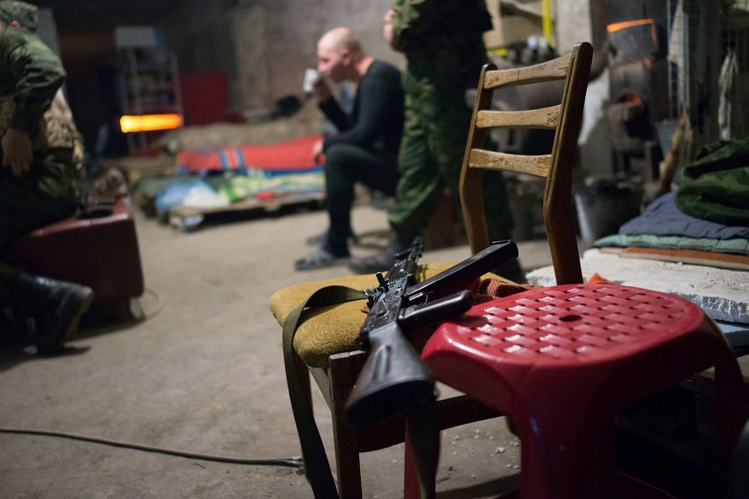 UKRAINE. Donetsk. November 24, 2014. Pro-Russian separatists of the DNR (Donetsk National Republic) using bomb shelter as living quarters in the Petrovskyi neighbourhood.
