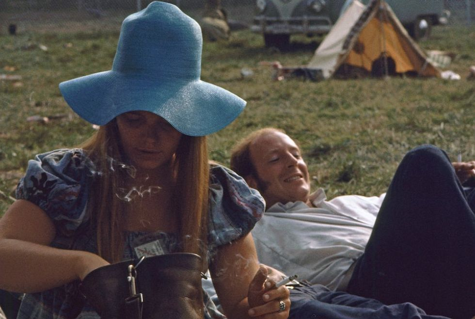 Press lounging near Free Stage at Woodstock 1969