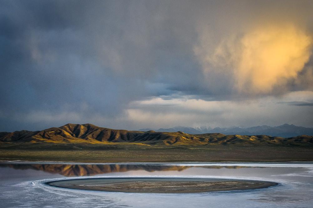 Island in a salt lake, Tien Shan, Kazakhstan