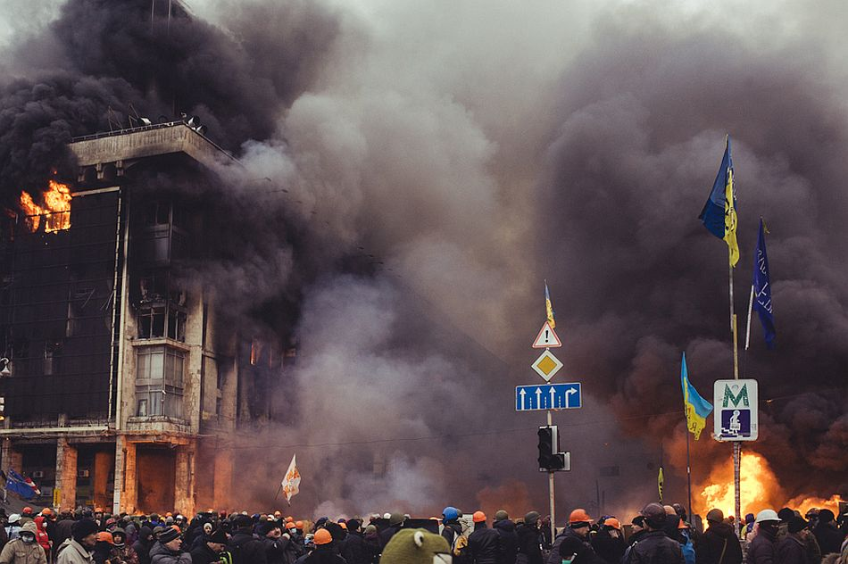 During night storm Trade Union building in Kyiv was fired. There were maine oficce of Madan and hospital. A lot of people couldn't get out and burned alive. Kiev, Feb. 19, 2014.